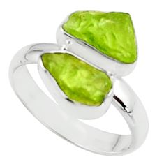 9.29cts natural green peridot rough 925 sterling silver ring size 8.5 r51737