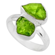 9.56cts natural green peridot rough 925 sterling silver ring size 7.5 r51813
