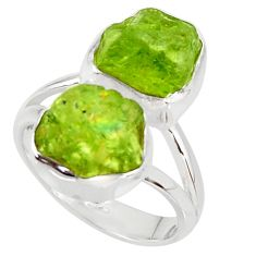 11.66cts natural green peridot rough 925 sterling silver ring size 6 r38242