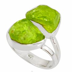 11.66cts natural green peridot rough 925 sterling silver ring size 6 r38253