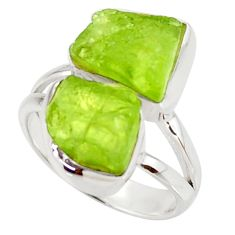 11.23cts natural green peridot rough 925 sterling silver ring size 6 r38302