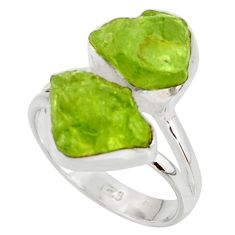 11.66cts natural green peridot rough 925 sterling silver ring size 7 r38252