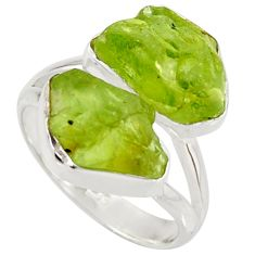 12.36cts natural green peridot rough 925 sterling silver ring size 8 r38306