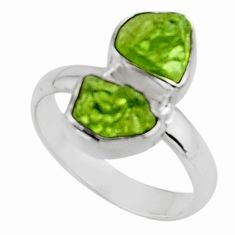 8.84cts natural green peridot rough 925 sterling silver ring size 8 r51815