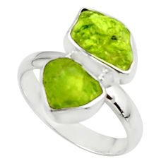 10.41cts natural green peridot rough 925 sterling silver ring size 9 r51734