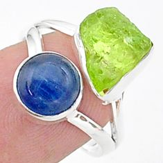 9.61cts natural green peridot raw blue kyanite 925 silver ring size 7 t38086