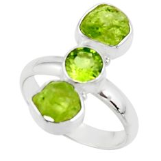10.81cts natural green peridot rough fancy peridot 925 silver ring size 8 r51723