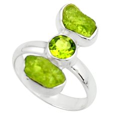 10.41cts natural green peridot rough fancy peridot 925 silver ring size 8 r51735