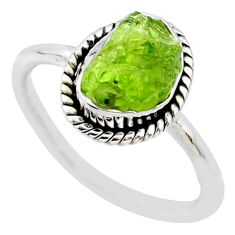 5.84cts natural green peridot rough fancy silver solitaire ring size 8.5 r64094