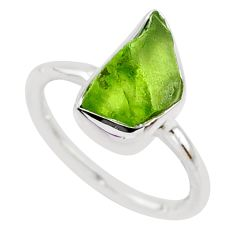 4.89cts natural green peridot rough fancy silver solitaire ring size 6 r64064