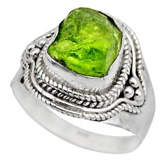 4.94cts natural green peridot rough fancy silver solitaire ring size 8 r53388
