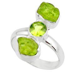 10.81cts natural green peridot rough peridot 925 silver ring size 8.5 r51724