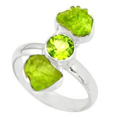 9.99cts natural green peridot rough peridot 925 silver ring size 8.5 r51730