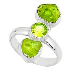 10.73cts natural green peridot rough peridot 925 silver ring size 8.5 r51740