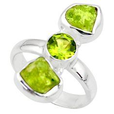 9.99cts natural green peridot rough peridot 925 silver ring size 7 r51732