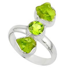 9.86cts natural green peridot rough peridot 925 silver ring size 9 r51726