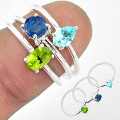 2.82cts natural green peridot sapphire topaz 925 silver 3 rings size 6 t50907