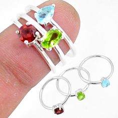 3.13cts natural green peridot topaz 925 sterling silver 3 rings size 6 r93030