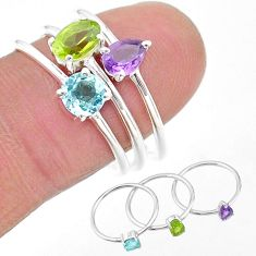 2.95cts natural green peridot topaz amethyst 925 silver 3 rings size 8 t17734