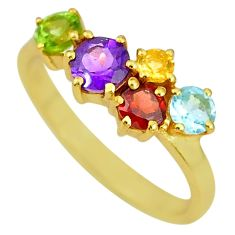 3.10cts natural green peridot topaz garnet 14k gold handmade ring size 7 t8059