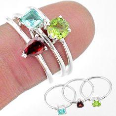 2.72cts natural green peridot topaz garnet 925 silver 3 rings size 7 t17695