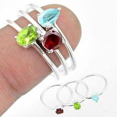 2.98cts natural green peridot topaz garnet 925 silver 3 rings size 8 t51005