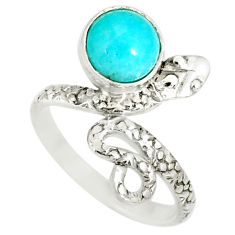 3.26cts natural green peruvian amazonite 925 silver snake ring size 7.5 r78625
