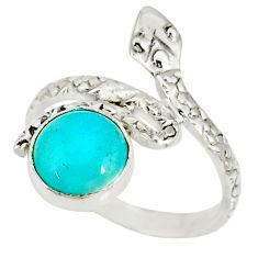 3.26cts natural green peruvian amazonite 925 silver snake ring size 7.5 r78643