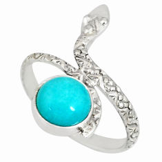 3.13cts natural green peruvian amazonite 925 silver snake ring size 8.5 r78661