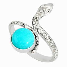 3.29cts natural green peruvian amazonite 925 silver snake ring size 8.5 r78662
