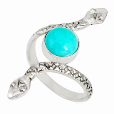 2.92cts natural green peruvian amazonite 925 silver snake ring size 7.5 r78702