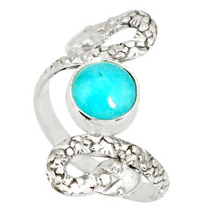3.02cts natural green peruvian amazonite 925 silver snake ring size 8.5 r78726