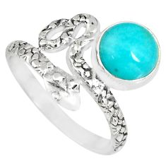 3.26cts natural green peruvian amazonite 925 silver snake ring size 7.5 r82561