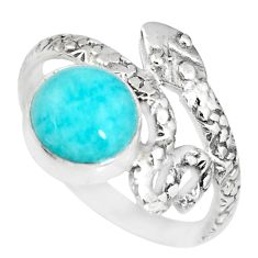 3.30cts natural green peruvian amazonite 925 silver snake ring size 7.5 r82565