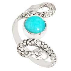 3.19cts natural green peruvian amazonite 925 silver snake ring size 10 r78725