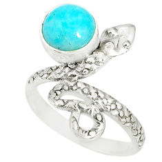 3.50cts natural green peruvian amazonite 925 silver snake ring size 7 r78601