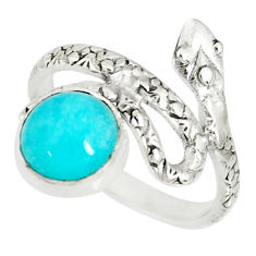 3.26cts natural green peruvian amazonite 925 silver snake ring size 7 r78626