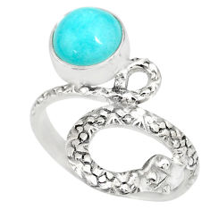 3.27cts natural green peruvian amazonite 925 silver snake ring size 7 r82566