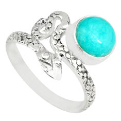 3.07cts natural green peruvian amazonite 925 silver snake ring size 7 r82567