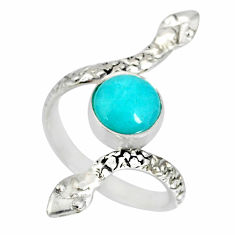 3.48cts natural green peruvian amazonite 925 silver snake ring size 8 r78687