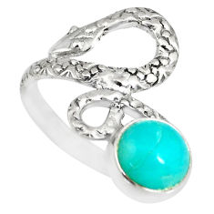3.46cts natural green peruvian amazonite 925 silver snake ring size 8 r82562