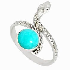 3.50cts natural green peruvian amazonite 925 silver snake ring size 9 r78664
