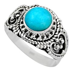 2.33cts natural green peruvian amazonite 925 silver solitaire ring size 6 r53482