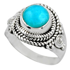 2.53cts natural green peruvian amazonite 925 silver solitaire ring size 6 r53498