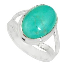 6.31cts natural green peruvian amazonite 925 silver solitaire ring size 7 r19302