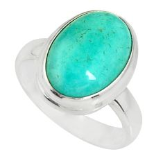 6.08cts natural green peruvian amazonite 925 silver solitaire ring size 7 r19306
