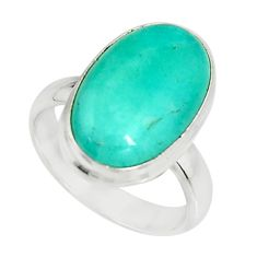 8.54cts natural green peruvian amazonite 925 silver solitaire ring size 7 r19315
