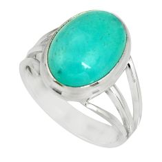 6.31cts natural green peruvian amazonite 925 silver solitaire ring size 7 r19317