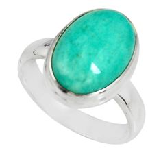 6.04cts natural green peruvian amazonite 925 silver solitaire ring size 7 r19418