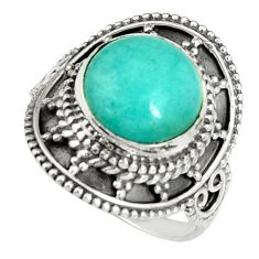 5.38cts natural green peruvian amazonite 925 silver solitaire ring size 7 r19532